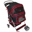 New BestPet Large Black 4 Wheels Pet Dog Cat Stroller with RainCover Pet House