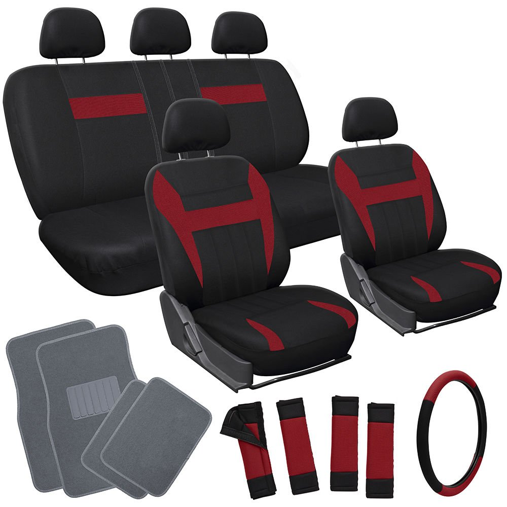 20pc Set Red Black Car Seat Cover Wheel Cover Head Rests gray Floor Mats 1E