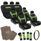 Green Black SUV Auto Seat Covers Set with Beige Tan Floor Mats 26pc Complete