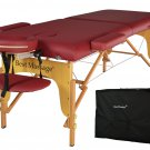 New Burgundy PU Portable Massage Table With Free Carry Case