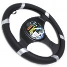 Faux Leather Steering Wheel Cover for Auto Car Truck Van SUV Black Silver Line