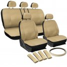 Faux Leather Seat Cover for Jeep Solid Beige w/Steering Wheel/Belt Pad/Head Rest