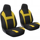 Car Seat Cover Yellow Black 2pc Set for Auto w/Integrated Head Rest Mesh Yellow