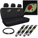 8pc Set Lady Bug suv Seat Cover Front Bench Back Buckets + Steering Wheel dw2
