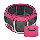 New Large Pet Dog Cat Tent Playpen Exercise Play Pen Soft Crate Burgundy