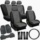 New 20pc Faux Leather Gray Black Seat Cover Set For Van Heavy Duty Rubber Floor Mat
