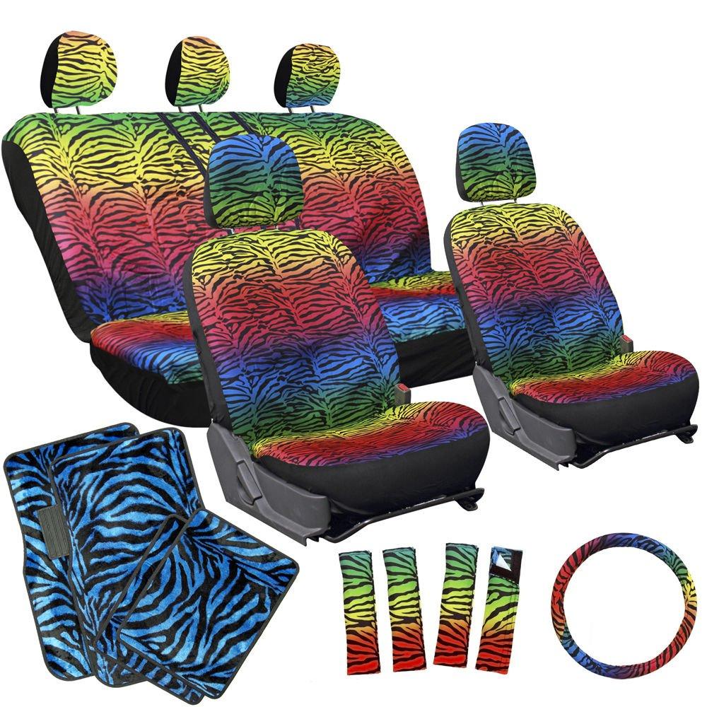 17pc Set Car Bucket Seat Cover Rainbow Color Zebra Animal