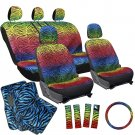 17pc Set Car Bucket Seat Cover Rainbow Color Zebra Animal + Blue Floor Mats 1A
