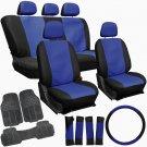20pc Faux Leather Blue Black SUV Seat Cover Set + Heavy Duty Rubber Floor Mats