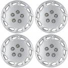"4 Pc Set of 14"" Inch Silver Hub Caps Full Lug Skin Rim Cover for OEM Steel Wheel"