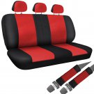 Car Seat Cover Red Black 8pc Set Bench for Auto with Belt Pads Synthetic Leather