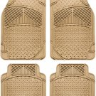 Floor Mats for SUVs Trucks Vans 4pc Set All Weather Rubber Eagle Fit Beige