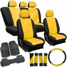 20pc PU Faux Leather Yellow Black TRUCK Seat Cover Set + HD Rubber Floor Mats 2A