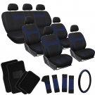 25pc Blue Black SUV Auto Seat Cover + Steering Wheel + Belt Pads + Floor Mats