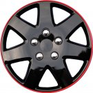 "1 Piece 16"" Ice Black & Red Hub Cap Full Lug Skin Rim Cover for OEM Steel Wheels"