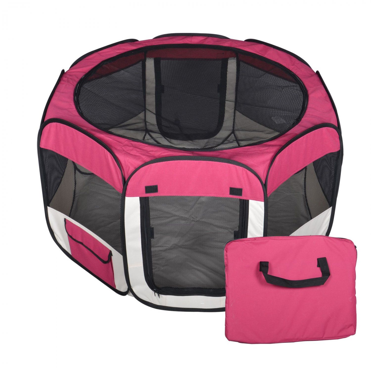New Small Burgundy Pet Dog Cat Tent Playpen Exercise Play Pen Soft Crate