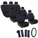 24pc Full Set Blue Black Van Seat Covers FREE Steering Wheel-Belt Pad-Head Rests