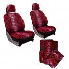 10pc Full Set Red Leopard Print Car Bucket Seat Covers Floor Mats