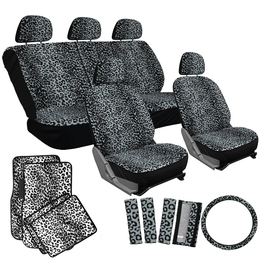 21pc car seat cover gray leopard cheetah animal print design white floor mat. Black Bedroom Furniture Sets. Home Design Ideas
