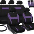 Car Seat Covers for Honda Civic Purple & Black Steering Wheel/Belt Pad/Head Rest