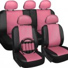 Faux Leather Seat Cover for Honda Civic Pink w/Steering Wheel/Belt Pad/Head Rest