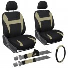 8pc Set Beige/Tan/Brown & Black Rear Bench Seat Cover + Wheel Cover Head Rest 1D