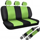 Car Seat Cover Green Black 8pc Set Bench for Auto w-Belt Pad Synthetic Leather