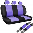 Car Seat Cover Purple Black Set Bench for Auto w/Belt Pads Synthetic Leather