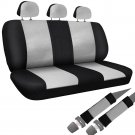 8pc Set Car Seat Cover White Black Bench for Auto w/Belt Pads Synthetic Leather