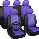 Faux Leather Purple Seat Cover for Toyota Camry w/Steering Wheel/Belt/Head Rests