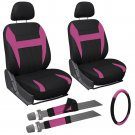 New 9 Piece Pink & Black Front Car Seat Cover Set Bucket Chairs with Wheel Cover