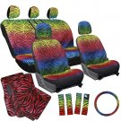 17pc Set SUV Bucket Seat Cover Rainbow Color Zebra Animal Red Floor Mats 3D