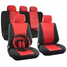 Car Seat Cover Set for Nissan Altima Steering Wheel/Head Rests Red Full Stripe