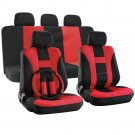 Car Seat Cover for Ford Mustang Red Steering Wheel/Belt Pad/Head Rests H Style