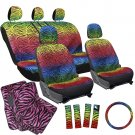 17pc Set SUV Bucket Seat Cover Rainbow Color Zebra Animal Hot Pink Floor Mats 1B