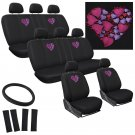 25pc Love Heart Pink Car SUV Seat Cover Logo FX Embroider Benches Full Set 2G