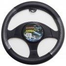 Carbon Fiber Steering Wheel Cover for Car Truck Van SUV Gray Black Vinyl Grip