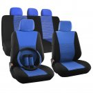 Car Seat Cover Set for Ford Focus Steering Wheel/Head Rest Blue Full Stripe