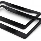 2pc OxGord Black Plastic License Plate Frame Tag Cover for Car SUV Van Truck - D