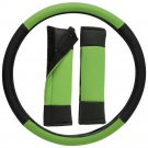 Faux Leather Steering Wheel Cover for Car Truck Van SUV Green Black w/Belt Pads