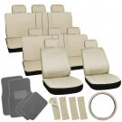 25pc Set All Tan Beige SUV Seat Cover Steering Wheel Gray Floor Mat 3A