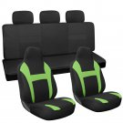 7pc Full Set Green Integrated Matching Black Bench Car High Back Seat Covers
