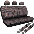 8pc OxGord Brown Plaid Bench Seat Covers TRUCK Steering Wheel Seatbelt Pads 2A