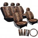 17pc Leopard Beige Tan Animal Print Complete Car Seat Cover Set 1B