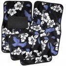 4pc Hawaiian Flower Blue Black White Car Carpet Floor Mats Universal B