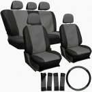 Universal Black and Grey Front And Back Full Set Seat Covers 17 Piece Set