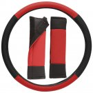 Faux Leather Steering Wheel Cover for Car Truck Van SUV Red Black Non-Slip Grip