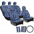 New Zebra Tiger Seat Cover Set Car SUV Truck Vanan Blue