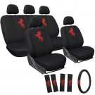 Red Horse 17pc Seat Cover Auto Car Truck Embroidered Mesh Wheel Belt Pads