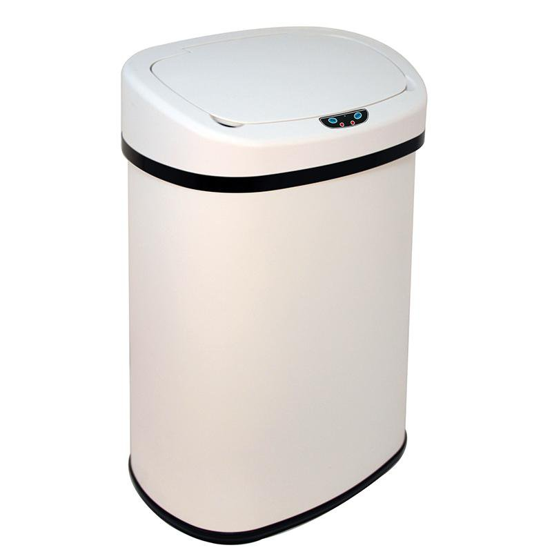 New white 13 gallon touch free sensor automatic trash can kitchen office - White kitchen trash cans ...